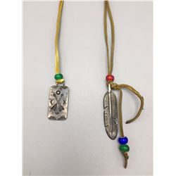 """Sterling Silver """"Tab"""" Necklaces on Leather"""