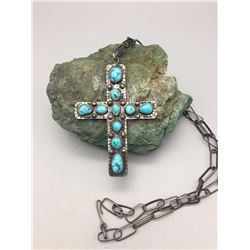 Sterling Silver and Turquoise Cross Necklace