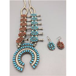 Double Sided Turquoise and Coral Squash Blossom Set