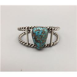 Turquoise and Sterling, Twisted Wire Bracelet