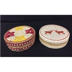 2 Ojibowa Birch Bark Quilled Baskets