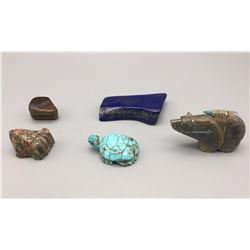 3 Fetishes, Chunk of Lapis and Tiger Eye