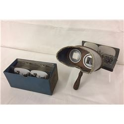 Antique Stereoscope Viewer with Cards