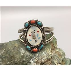 Vintage Inlay Bracelet with Turq. and Coral