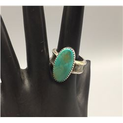 Turquoise and Tufa Cast Ring