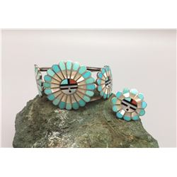 Zuni Sunface Inlay Ring and Bracelet