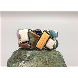 Multi-Stone Sterling Silver Bracelet