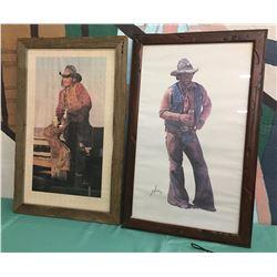 Pair Gordon Snidow Coors Cowboy Prints
