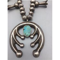 Mid-Century Turquoise Squash Blossom Necklace