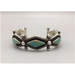 Vintage Bracelet with 5 Diamond Shaped Turquoise Stones