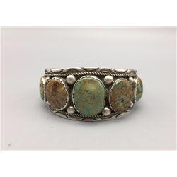 9-Stone Green Turquoise Cuff Bracelet