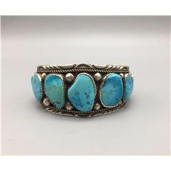 9-Stone Blue Turquoise Cuff Bracelet