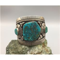 MASSIVE Sterling Cuff with High Grade Turquoise by Tommy Singer
