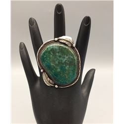 Sterling Silver and Large Green Stone Ring