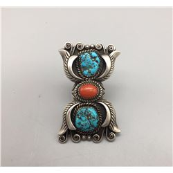 Large Vintage Turquoise and Coral Ring