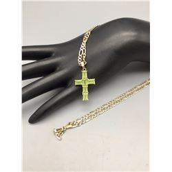 Gold, Gemstone, Cross Pendant and Chain