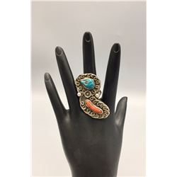 Vintage Turquoise, Coral, Sterling Ring