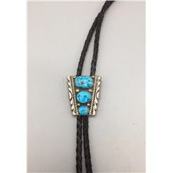 Vintage Turquoise and Sterling Bolo - Leekya