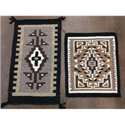 Pair of Two Grey Hills Navajo Textiles