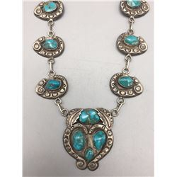 1960s Turquoise, Sterling Silver Necklace