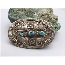 Vintage Turquoise and Sterling Silver Belt Buckle