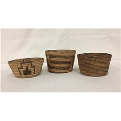 3 Vintage Pima Willow Baskets