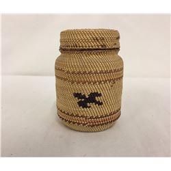 Vintage NW Coast Basketry Bottle -Jar