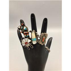 5 Vintage Zuni and Navajo Rings