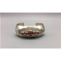Coral and Sterling Bracelet