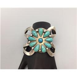 Heavy, Sandcast Turquoise Bracelet