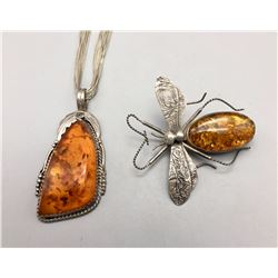 Amber Necklace and Dragonfly Pin
