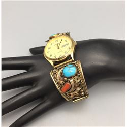 Vintage Turquoise and Coral Watch Bracelet