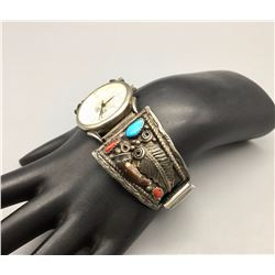 Vintage Turquoise, Coral, Bear Claw - Watch Bracelet