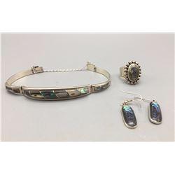 Sterling Silver Bracelet, Earrings and Ring Set