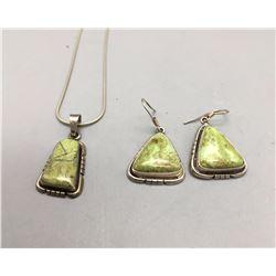Gaspeite Pendant and Earrings