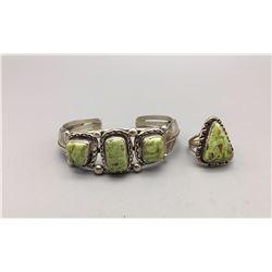Gaspeite Bracelet and Ring
