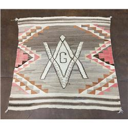 Circa 1915, Masonic Pictorial Navajo Textile