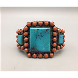 Turquoise and Coral Bracelet - Kirk Smith!