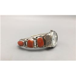 Sterling Silver and Coral Watch Band