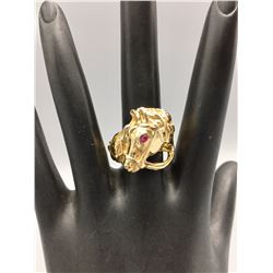 14k Gold Horse Head Ring