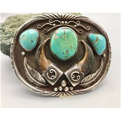 Sterling Silver, Turquoise and Bear Claw Buckle