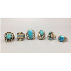 Group of 6 Sterling Silver and Turquoise Rings