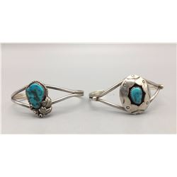Pair of Sterling Silver and Turquoise Bracelets