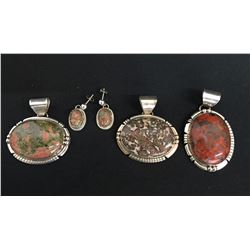 Group of Three Pendants and One Pair of Earrings