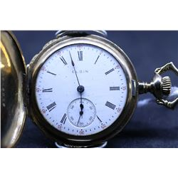 "Elgin size ""0"" 15 jewel pocket watch, serial # 16365627, dates to 1912, nickel silver 3/4 plate stem"