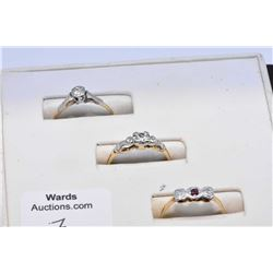 Three antique 18kt gold, platinum and diamond rings including lady's 18kt yellow and white gold ring