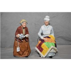 Two Royal Doulton figurines including Eventide HN2814 and Tea Time HN2255
