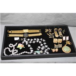 Selection of gent's cufflinks, two Geneva gold plates watches and a quartz and onyx beaded necklace