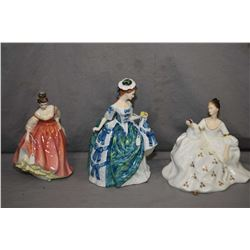 "Three Royal Doulton figurines including ""Fair Lady-Coral Pink"" HN2835, ""My Love"" HN2339 and ""Linda"""