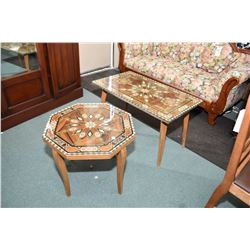 Two middle eastern decorative inlaid tables including a coffee table and side table both with protec